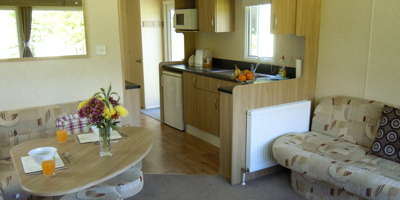 The kitchen of one of our holiday homes at Setmabanning Caravan Park